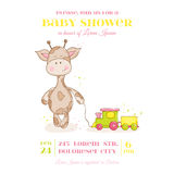 Baby Giraffe Shower Card Royalty Free Stock Image