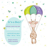 Baby Giraffe Shower Card Royalty Free Stock Image