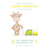 Baby Giraffe Shower Card Stock Photography