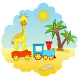 Baby giraffe and train. Royalty Free Stock Image