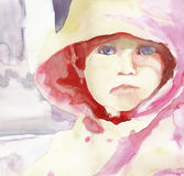 Baby girl 1. Hand painting picture - watercolors - with face of little girl Stock Photography