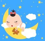 Baby girl. Illustration of baby girl sleeping on the moon Royalty Free Stock Image