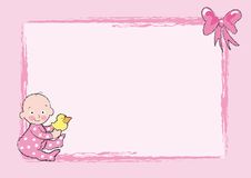 Baby girl. Illustration of nice baby with a little duck. It's suitable for cards, scrapbooking, frames, backgrounds Stock Image