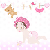 Baby girl. Sweet baby girl in pink Stock Image