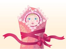 Baby_girl. Funny new born baby girl. Vector illustration Stock Photography