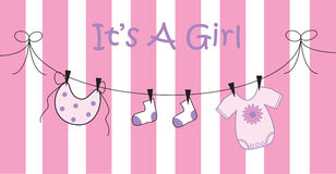 Baby Girl. Pink baby girl birth announcement Stock Photo