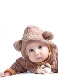 Baby girl. With little monkey toy Stock Photos