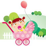 Baby girl. Illustration of Baby playing in the park Stock Photos