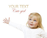 Baby Girl. Cute Baby Girl over white with copy-space for text stock photo