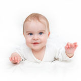 Baby girl. Image of cute baby girl isolated on white Stock Photos
