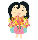 Baby Girl 2. A little baby girl character holding a bunch of flowers blossoming Royalty Free Stock Photos