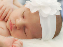 Baby girl. Newborn baby girl sleeping while wearing white bow Royalty Free Stock Images