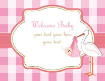 Baby girl. Arrival announcement with stork Royalty Free Stock Photos