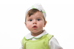 Baby-girl. Girl at the age of 1 year with white background Royalty Free Stock Images