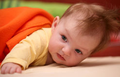 Baby girl. Small baby girl lying pron Stock Photography