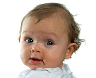 Baby Girl. Cute baby girl looking over her shoulder on white background Royalty Free Stock Images