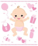 Baby girl. Illustration of baby girl born and accessories Royalty Free Stock Photos