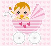 Baby girl. Illustration of baby girl and pram in the background with hearts Royalty Free Stock Photos
