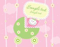 Baby girl. Arrival announcement card Royalty Free Stock Images