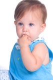 Baby Girl. Beautiful brunette baby girl with blue eyes Stock Photos