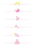 Baby girl accessories. Cute baby girl divider set including  carriage, safety pins, pacifier, duck isolated on white background Stock Photos