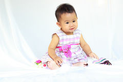 Baby girl. Adorable baby beam cheerful child cute enjoy Stock Image