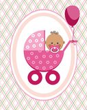 Baby, girl, African, postcard, pink lines, rhombuses, vector. A little girl in a pink stroller. A pink balloon is tied to the stroller. Color, flat card Stock Photo