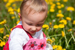 Baby girl in amoungst marigolds royalty free stock photos