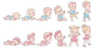 Free Baby Girl And Boy In Row. Set Of Child Health And Development Icons In Line. Stock Photo - 183321620