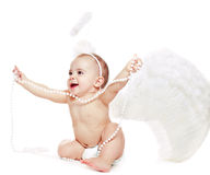 Baby girl in a angel fancy dress Royalty Free Stock Photography