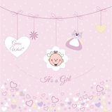 Baby girl announcement. For baby shower Stock Photography