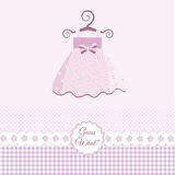 Baby girl announcement. Pink Baby girl arrival announcement card with dress Royalty Free Stock Photography