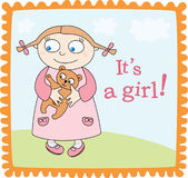 Baby girl announcement. Girl in pink dress with teddy-bear Stock Photo
