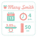 Baby girl announcement birth card Royalty Free Stock Photos