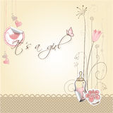 Baby girl announcement card Royalty Free Stock Photos