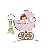 Baby girl announcement card Royalty Free Stock Photography