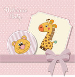 Baby girl announcement card Stock Photography