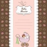 Baby girl announcement card Stock Photos