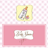 Baby girl announcement card. With milk bottle Stock Images