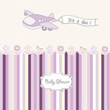 Baby girl announcement card with airplane Royalty Free Stock Photos