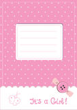 Baby girl announcement card. With button and butterfly Royalty Free Illustration