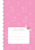 Baby girl announcement card. With button, rabbit and buggy Stock Photos
