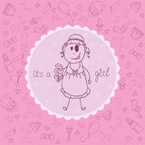 Baby girl announcement card. Stock Image