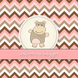 Baby girl announcement card with hippo Stock Image