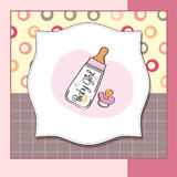 Baby girl announcement card with milk bottle Royalty Free Stock Photography