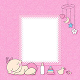 Baby girl announcement card. Royalty Free Stock Images