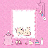 Baby girl announcement card. Stock Photos