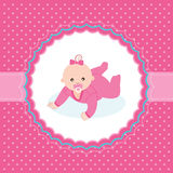 Baby girl announcement card. Vector illustration Stock Photos