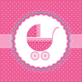 Baby girl announcement card. Vector illustration. Baby girl announcement card with baby buggy. Vector illustration Royalty Free Stock Photo