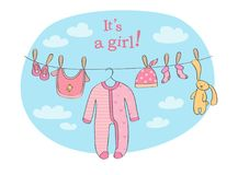 Baby girl announcement card vector illustration. Announcement card for baby girl with clothing and rabbit toy that are dried on the rope stock illustration